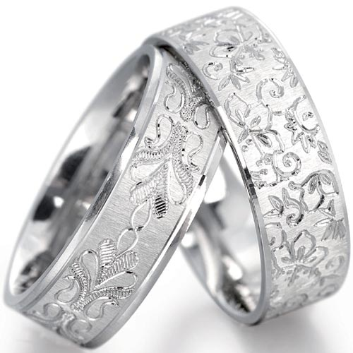 PH Rings 5mm Leaf Design Wedding Band In 9 Carat White Gold