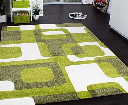 PHC Designer Rug - Woven - Trendy Retro Style - Green Grey Cream, Size:160x220 cm product image