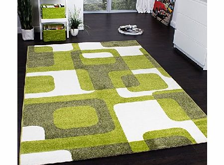 PHC Designer Rug - Woven - Trendy Retro Style - Green Grey Cream, Size:70x140 cm product image