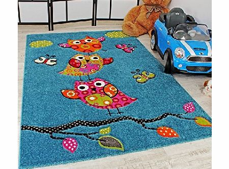 PHC Kids Carpet Cute Owls Modern Children Rug in Blue Turquoise Orange Cream Green, Size:80x150 cm product image