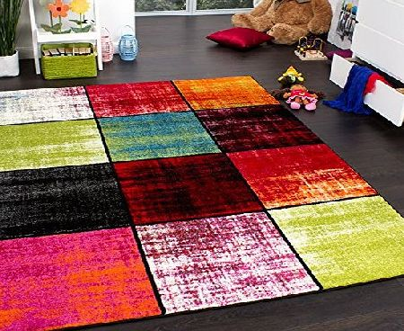 PHC Kids Rug - Squared Design - Multicoloured - Mottled Red Pink Green Blue, Size:120x170 cm product image