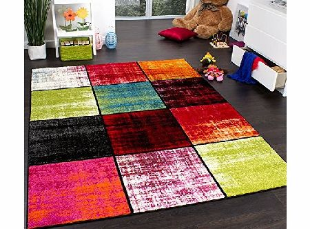 PHC Kids Rug - Squared Design - Multicoloured - Mottled Red Pink Green Blue, Size:80x150 cm product image