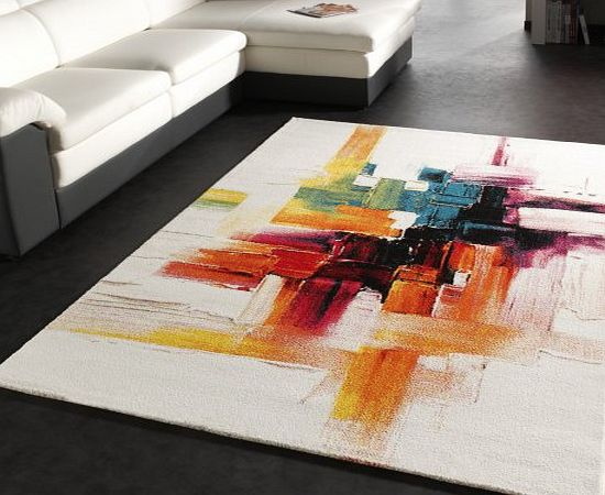 PHC Rug Modern Canvas Look Designer Carpet in Cream Colourful Brushed, Size:160x230 cm product image