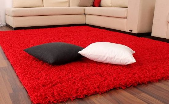 PHC Shaggy / Rug / Carpet / High Pile / Long Pile / Modern Carpet / Uni / Red, Size:60x100 cm product image