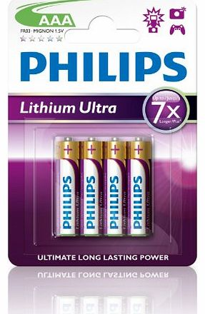 Philips Lithium Ultra AAA Batteries (4 Pack)