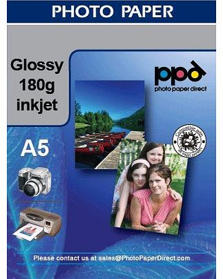 Inkjet A5 180g Glossy Photo Paper x 100 sheets
