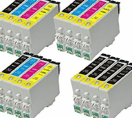 Pictech 4 Sets + 4 black = 20 Compatible Epson T0555 - T0551 T0552 T0553 T0554 Printer Ink Cartridges for Epson Stylus Photo RX420 RX425 RX520 R240 R245 RX450 Printers (8x Black, 4x Cyan, 4x Magenta, 4x Yello product image