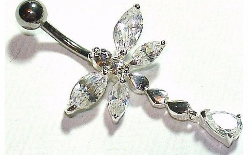 Belly Bars - Pierced & Modified - Body Jewellery - Crystal Sterling Silver Navel Bar - Dragonfly - White