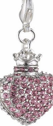 Pilgrim Womens Charms Pendant, Heart Silver Plated and Pink Stein 560310 product image