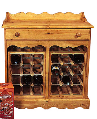 24 BOTTLE DOUBLE WINE RACK COUNTRY PINE