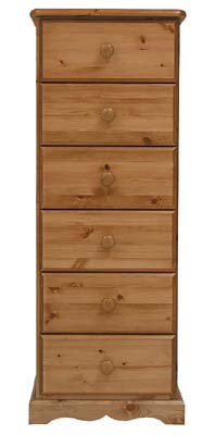 6 Drawer Bedside Cabinet. The drawers have dovetailed joints  with tongue and grooved bases. All - CLICK FOR MORE INFORMATION