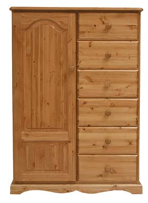 pine 6 DRAWER DOUBLE COMBINATION WARDROBE BADGER product image