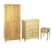 This bedroom furniture set comes in a solid lacquered pine. It includes a 2 door wardrobe, 4 drawer chest and 1 drawer bedside table. Self assembly is required. - CLICK FOR MORE INFORMATION