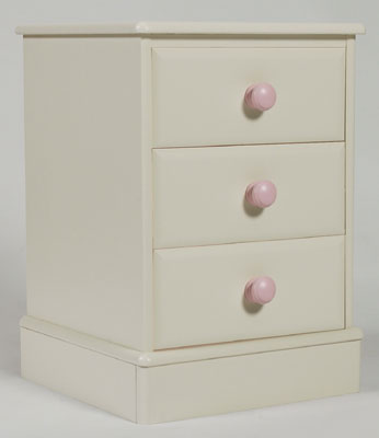 Jack and Jemima three drawer bedside cabinet. The Jack and Jemima painted furniture bedroom range has been designed especially for boys and girls to accommodate their clothes toys and books. The painted furniture range is made of solid wood and is ha - CLICK FOR MORE INFORMATION