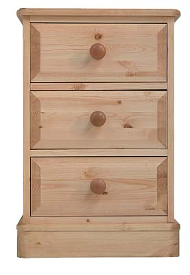 Pine 3 Drawer Bedside Cabinet. The drawers have dovetailed joints  with tongue and grooved bases - CLICK FOR MORE INFORMATION