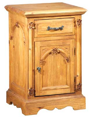 Cathedral pine bedside cabinet with right hinge cupboard and drawer. The Cathedral pine bedroom range is a hand waxed solid pine selection of beautifully carved pieces to grace any bedroom. The warm tones of the wood give a warm and cosy feel and the - CLICK FOR MORE INFORMATION