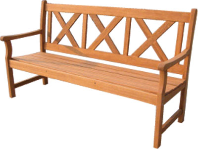 Pine three seater cross back bench from the Shaftesbury Range of Furniture. - CLICK FOR MORE INFORMATION