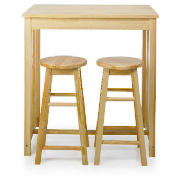 Pine breakfast bar table & 2 stools product image