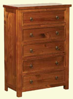 CHEST OF DRAWERS 5 DRAWER DARK FURNITURE