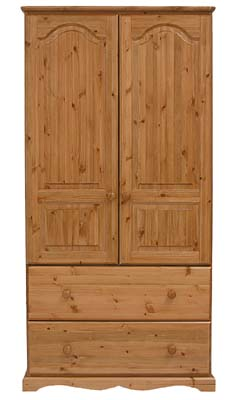 pine DOUBLE 2 DRAWER WARDROBE BADGER product image