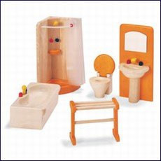 Pintoy Dolls House Wooden Accessory set - Bathroom