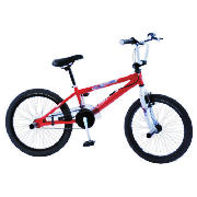 This Piranha 200 red spoked is an exciting, stylish BMX with a printed red frame and white forks.  Your child can have a lot fun on this BMX.  The Piranha 200 has an oversized 10 steel frame, reinforced with top and down gussets, and rigid steel fork - CLICK FOR MORE INFORMATION