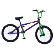 This Piranha 450 neon green spoked is an exciting, stylish BMX with a printed purple frame and green forks.  Your child can have a lot fun on this BMX.  The Piranha 200 has an oversized 10 steel frame, reinforced with top and down gussets, and rigid  - CLICK FOR MORE INFORMATION