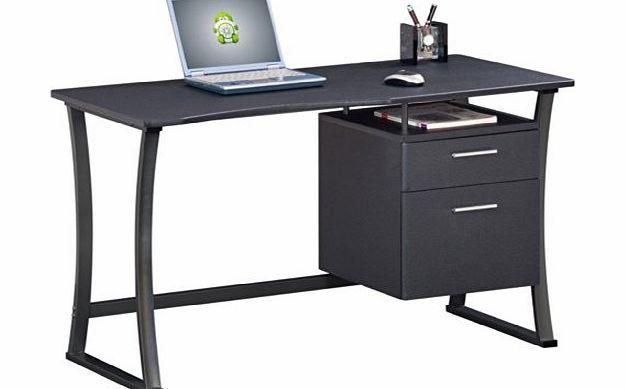 Piranha graphite black compact computer desk with A4 suspension filing