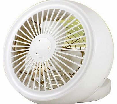USB/ 4*AA Battery Powered 6 Inch Angle Adjustable Desktop Mini Cooling Fan (White)