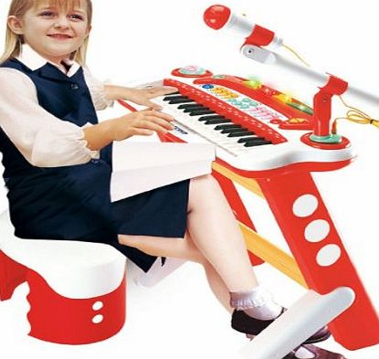ELECTRONIC CHILDRENS KIDS VOICE CHANGER KEYBOARD PIANO MICROPHONE WITH STOOL TOY