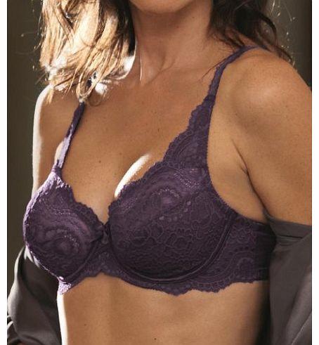 3207d4d510189 P5832 Beauty Cross Flower Lace Full Cup Bra Dark Purple (34 C)