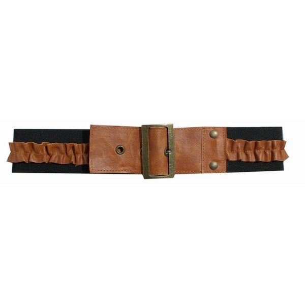 Poltsa Orange & Brass Elastic Belt with Ruffles by product image