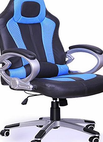 Popamazing Red/Black/Blue Lucury High Back Race Car Style Bucket Seat Office Desk Chair Racing Gaming Chair (Blue)