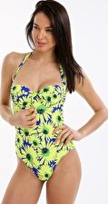 Pour Moi, 1295[^]276240 Crazy Daisy Padded Underwired Suit - Blue Yellow