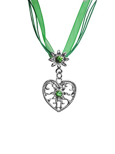 Power of Parfumes Motive 5 Green Heart Pendant Necklace Costume Jewellery with Green Rhinestones for Dirndl product image