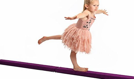 PowerFly  7ft Gymnastics Balance Beam for Kids and Home Training - Folding and Low Profile - Purple