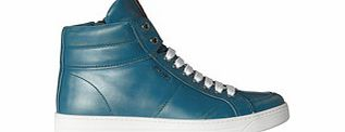 Blue leather high-top sneakers