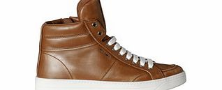 Brown leather high-top sneakers