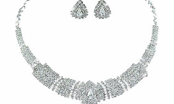 PreciousYou Vintage Exquisite Sparkling Choker Collarette Extravagent Bridal Wedding Crystal Necklace Earrings Jewellery Set with PreciousBags Dust Bag product image