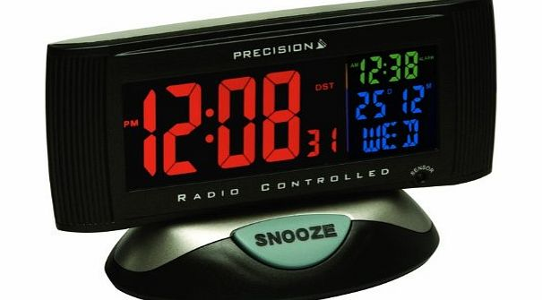 PREC0019 Radio Controlled LCD Screen Alarm Clock with Mains Adaptor, 3 Colours