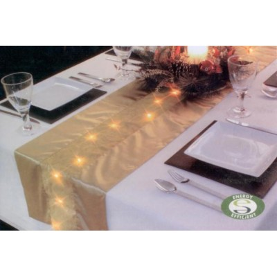 Premier Decorations LED Lit Gold Table Runner