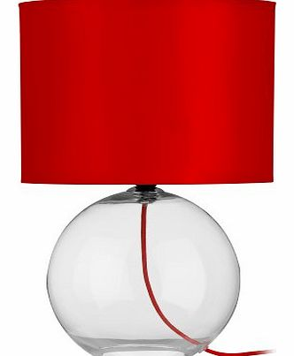 Premier Housewares Round Glass Table Lamp - Red