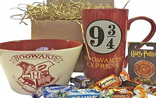 Premier Life Store Harry Potter Hogwarts Gift Set with Breakfast Bowl, Mug, Pin Badge and Celebrations Chocolates