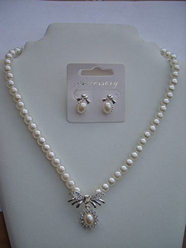 Pristina Jewellery Crystal and Faux Pearl Necklace Pendant Earrings Set Costume Fashion Jewellery product image
