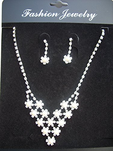 Pristina Jewellery Diamantee Crystal and Faux Pearl Necklace Pendant Earrings Set Costume Fashion Jewellery product image