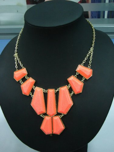 Pristina Jewellery Large Statement Womens Vintage Fashion Jagged Necklace Jewellery Chain Rare Set (Coral) product image