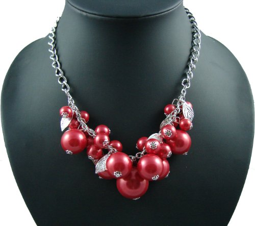 Pristina Statement Womens Vintage Fashion White Or Red Pearl Necklace Jewellery Costume (Red) product image
