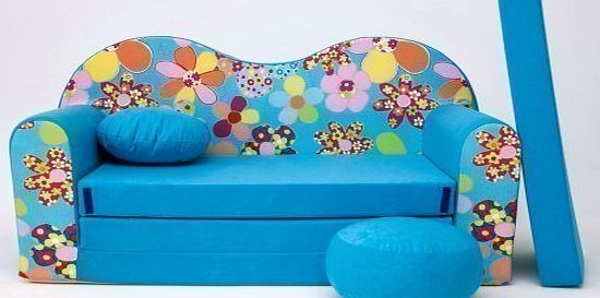 KIDS SOFA BED FUTON CHILDS FURNITURE+FREE POUFFE/FOOTSTOOLamp;PILLOW (B13)