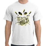 Lightning Drums T-Shirt, White, L