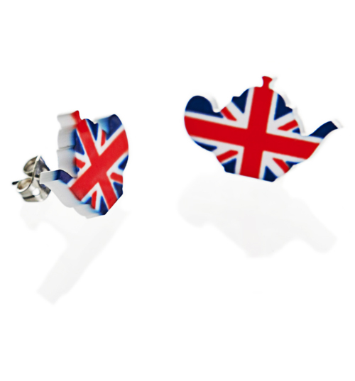 Union Jack Flag Teapot Stud Earrings from Punky